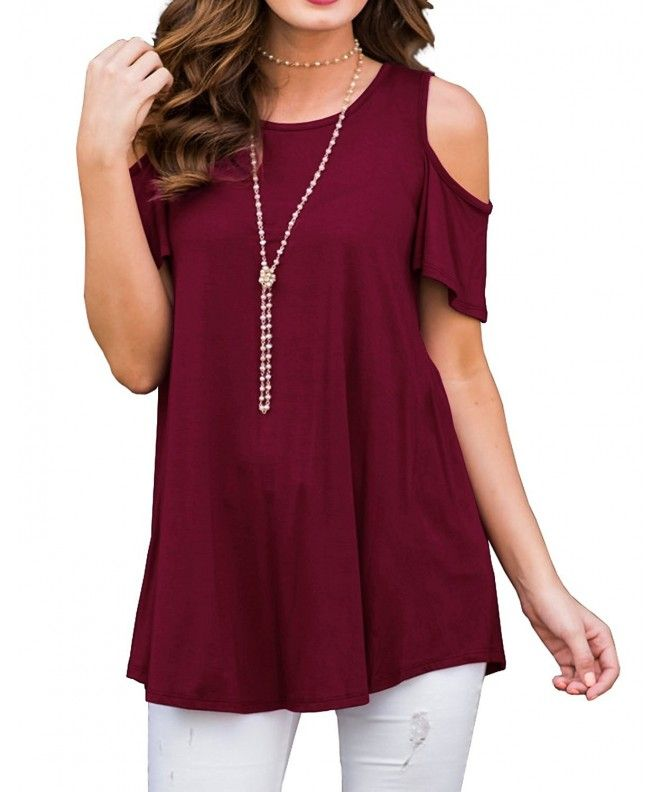 90df259361aa37 Women s Short Sleeve Casual Cold Shoulder Tunic Tops Loose Blouse Shirts -  02 Wine Red -