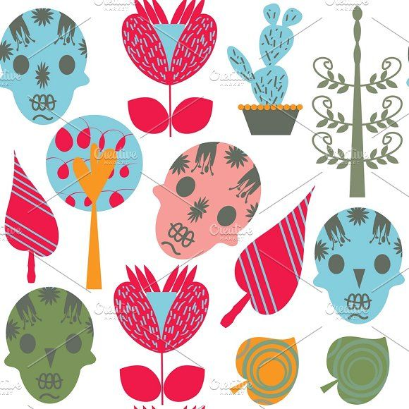 8 vector skulls seamless patterns by LuizaVictorya on @creativemarket