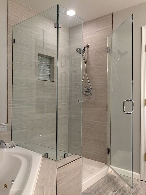 Shower with Knee Wall Frameless Corner Shower Enclosures
