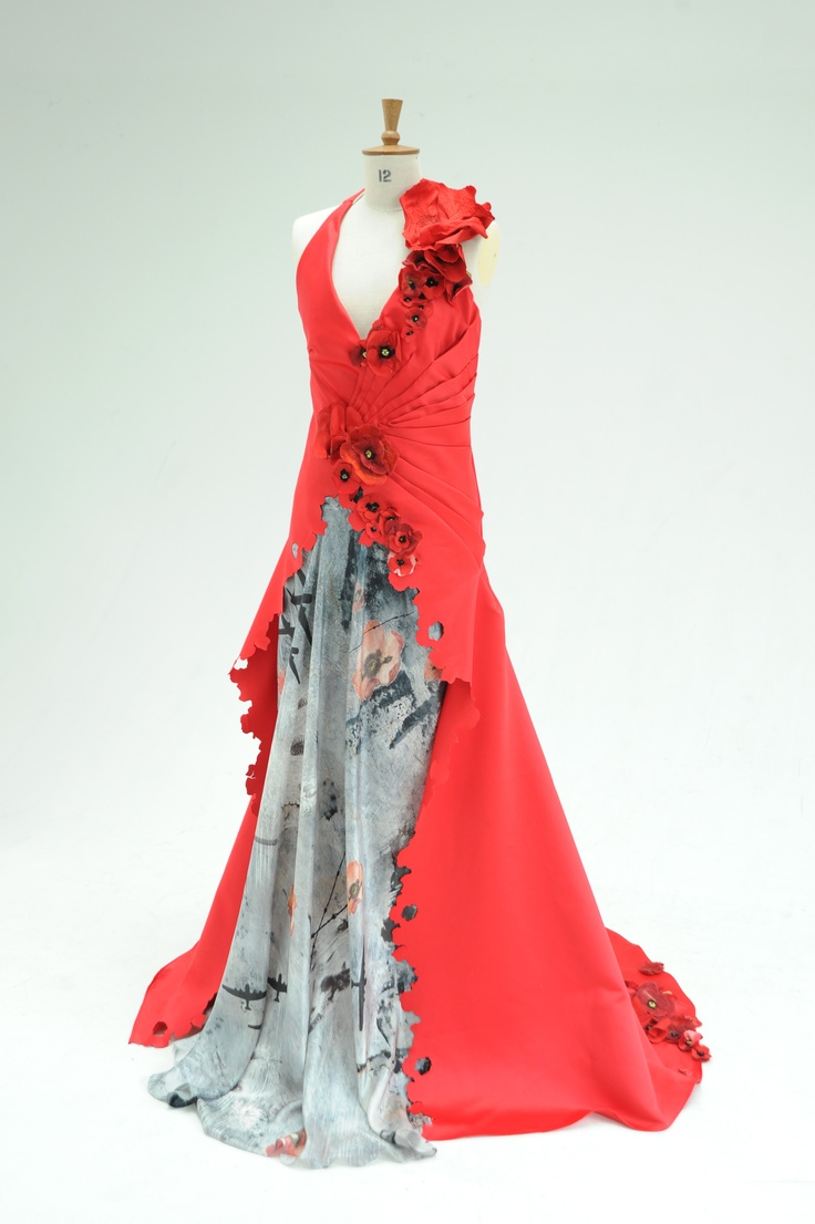In Memory Gown entwined with Poppies and digital print panel to commemorate WW2 - Combining laser cutting, machine embroidery, felting, pattern making, watercolour painting and digital print