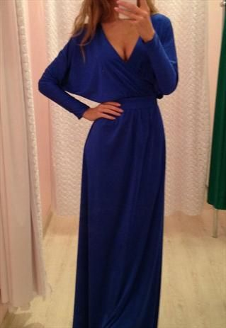 I want this dress BUT I would need a cleavage cover built in! (deep blue dress with neckline from bellamia)