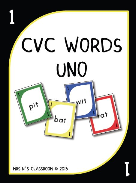 CVC Words Uno Game -The students have to say the CVC word in order to be able to play the card. The focus is to blend the sounds together and to sound out the word.  I've made these in print font so they are clear and easy to read. This file contains: 106 CVC words Uno cards (covers all the short vowel sounds) 4 reverse, skip, draw 2 cards 6 wild cards  There are two version in this file. 1. Full color cards 2.