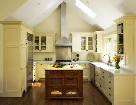 kitchen with pale yellow cabinets: Ceilings Lighting, Decoration Idea, Cabinets Color, Yellow Cabinets, Kitchens Idea, Kitchens Cabinets, Kitchens Color, Dream Kitchens, Vault Ceilings
