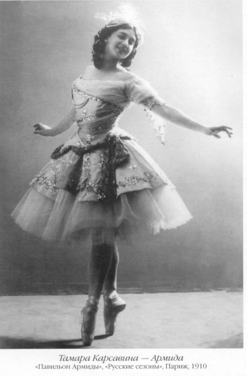 Tamara Karsavina (1885-1976) -  Russian ballerina, renowned for her beauty, who was most noted as a Principal Artist of the Imperial Russian Ballet and later the Ballets Russes of Serge Diaghilev.  After moving to England and teaching ballet, she became recognised as one of the founders of modern British ballet.
