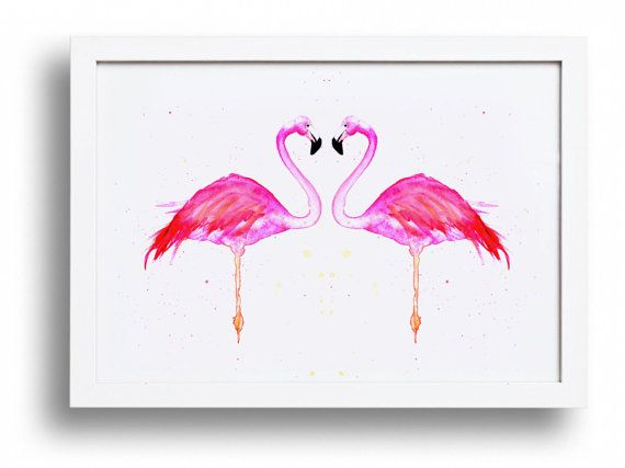 LOVE BIRDS. Flamingo wall art bright pink print by ElsieInvents, $30.00
