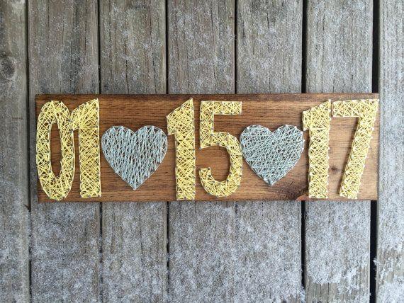Wedding String Art Engagement Wood Sign by NurturingNaomi on Etsy