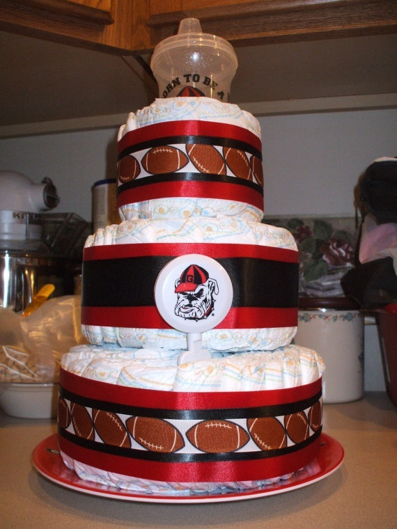 Georgia Bulldog Football Diaper Cake new baby by BabyBouquetsPlus