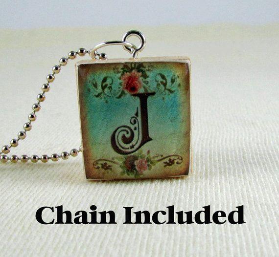 scrabble tile necklace letter j