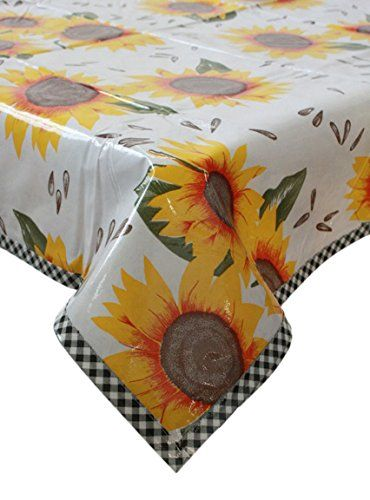 48 X 70 Oilcloth Tablecloth Sunflower Print With Gingham Black Trim Great  For Indoors Or Outdoors Or As A Picnic Matm Wont Fade Waterproof
