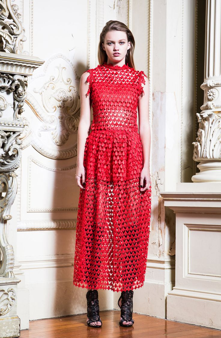 Asilio - Game of Roulette Eyelash Lace Midi Skirt in Chilli Red