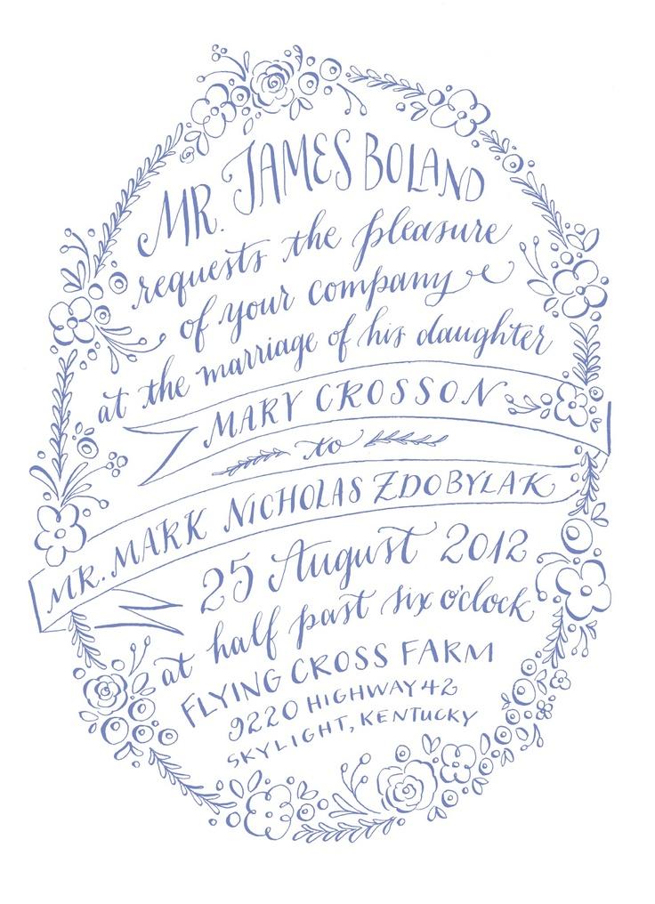 pretty modern blue and white wedding calligraphy invitation design
