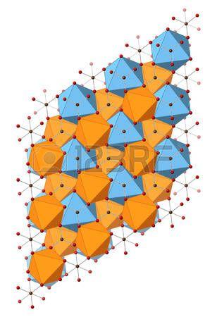 mineral composition: Dolomita (carbonato de calcio y magnesio, CaMg (CO3) 2) mineral, estructura cristalina. Los átomos que se muestran como esferas y poliedros. Foto de archivo