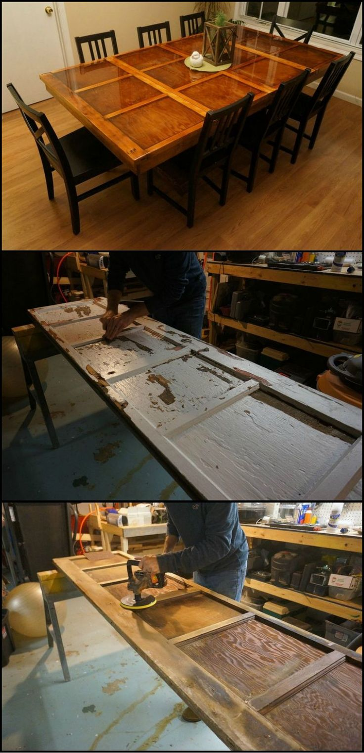 How to turn an old wooden garage door into a dining table for How to turn an old door into a table