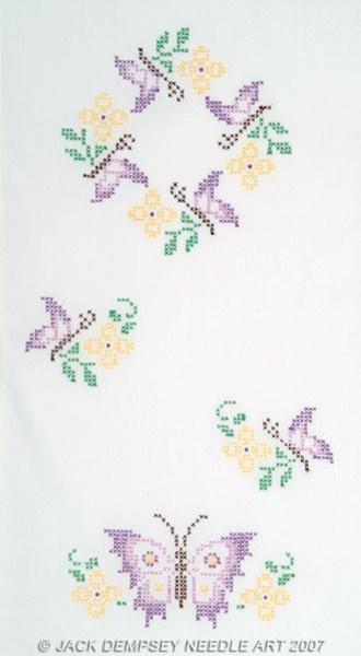 Vlinders Tafelloper / Sjaal - Stamped Cross Stitch Kit