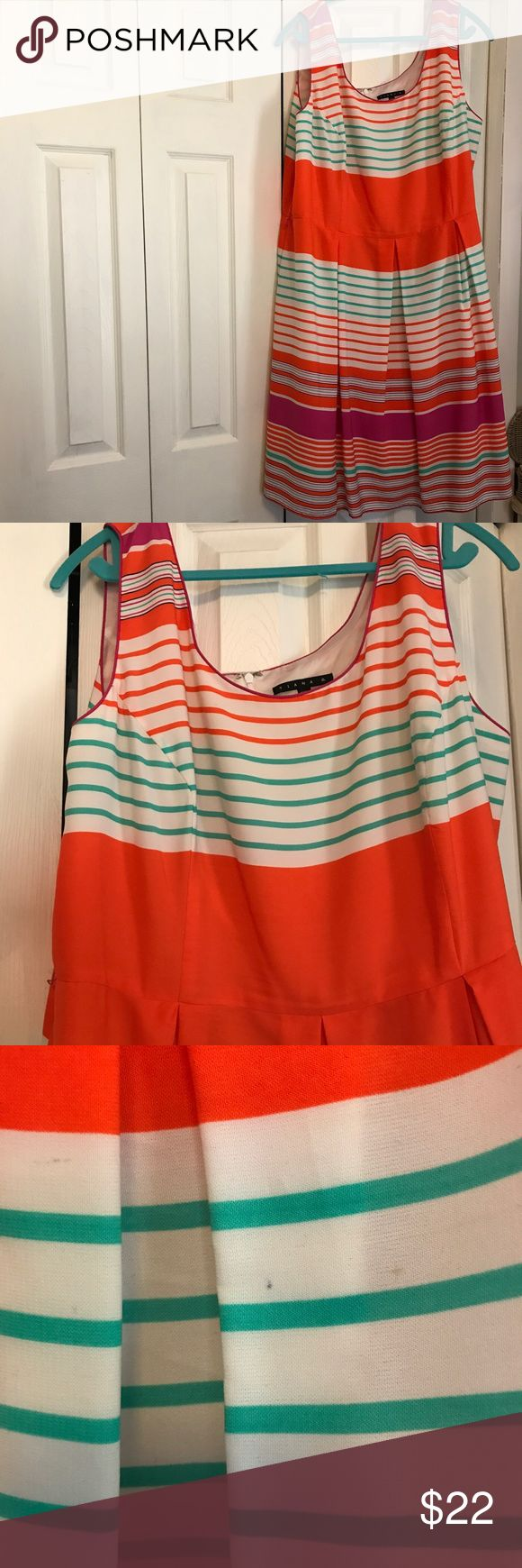 """Plus size, striped dress, Tiana B Brightly colored, Tiana B dress, worn 3-4 times.  So cute.  It came with a thin belt, but it is missing and it has two small spots on the front, see picture.  35"""" from front center to hem. 100% polyester.  Dry clean.  Lined. Tiana B Dresses"""