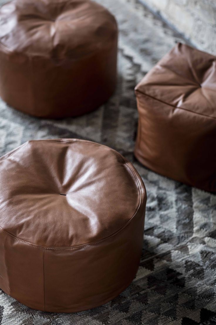 Poufs designed by Bent Hansen, comes in leather and fabric  #puf #puffer #pouf #ottoman