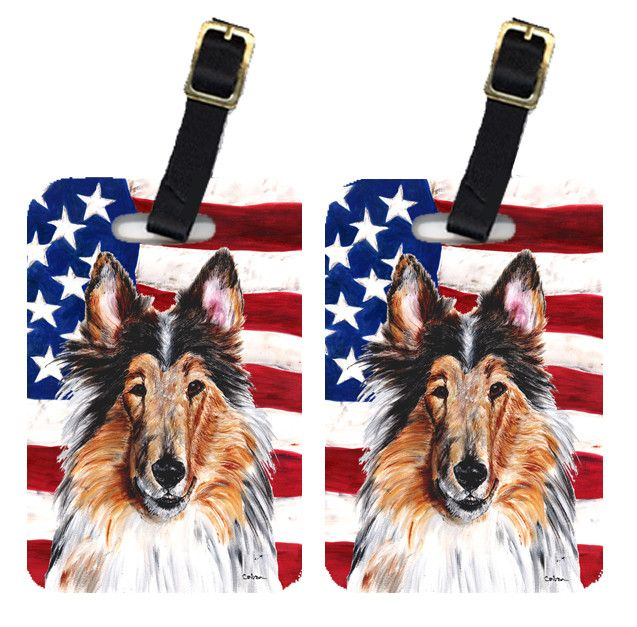 Pair of Collie with American Flag USA Luggage Tags SC9622BT