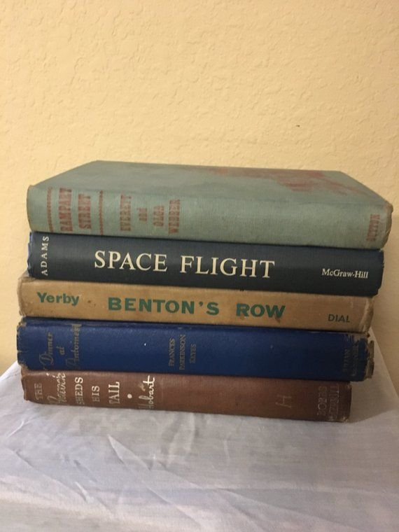 Vintage book lot, 5 books, book bundle, man cave decor, office decor