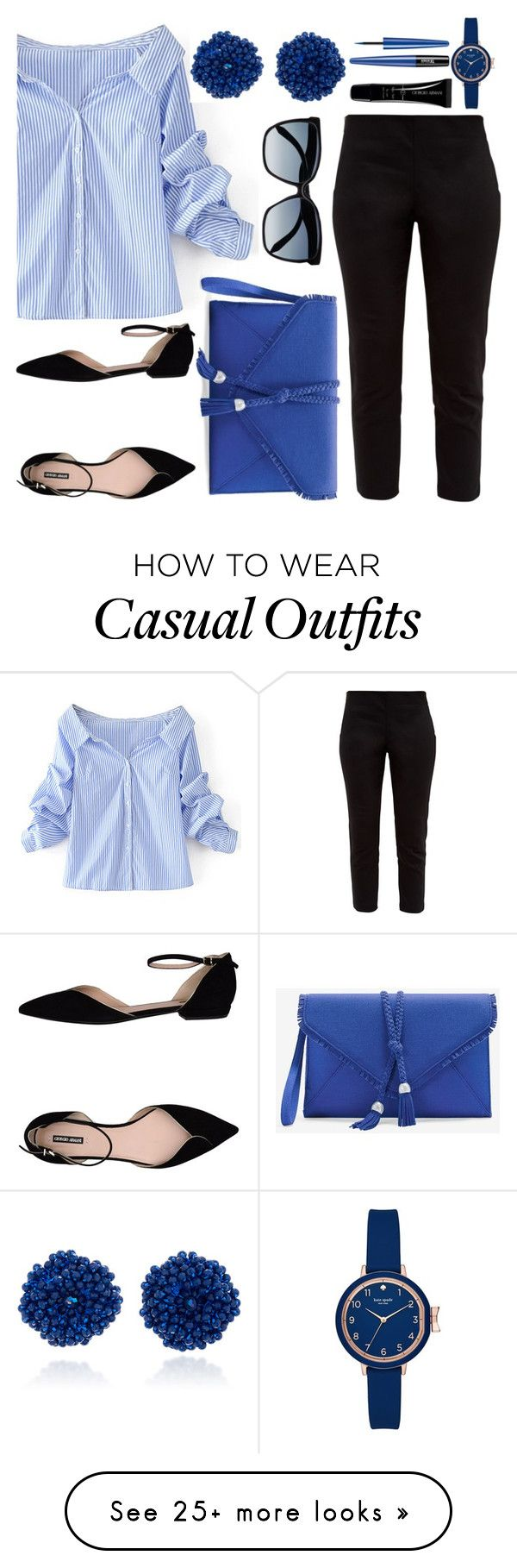 """""""casual blue and black"""" by ayiarundhati on Polyvore featuring Ted Baker, WithChic, Giorgio Armani, White House Black Market, Victoria Beckham, Bibi Marini, Kate Spade, casual, black and Blue"""