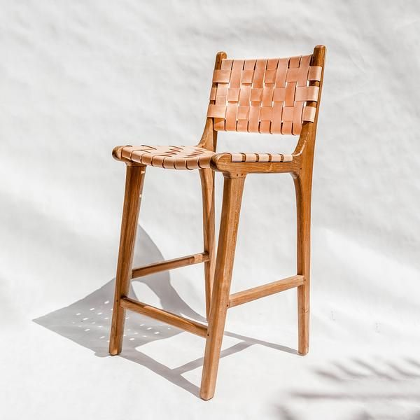 Woven Leather Counter Stool Crafted By Hand With A Classic Waxed