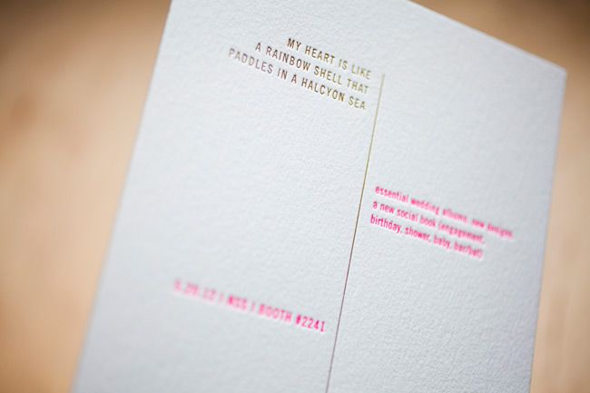 Our 2012 National Stationery Show invitations -- featuring hot pink neon ink + shiny gold foil stamping and our Unique Minimes design