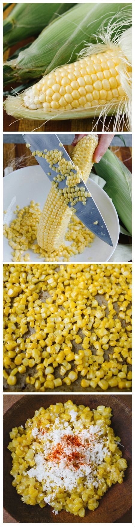 Roasted Corn With Cheese and Lime (Roasting the corn off the cob in the oven!)