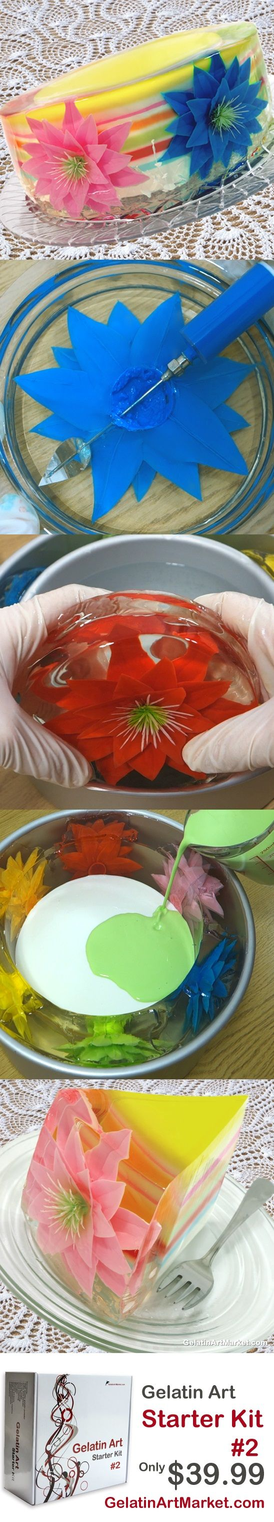 Learn how to draw flowers in fruit-flavored jelly. Gelatin Art Birthday Cake, Delicious and gluten free! GelatinArtMarket.com
