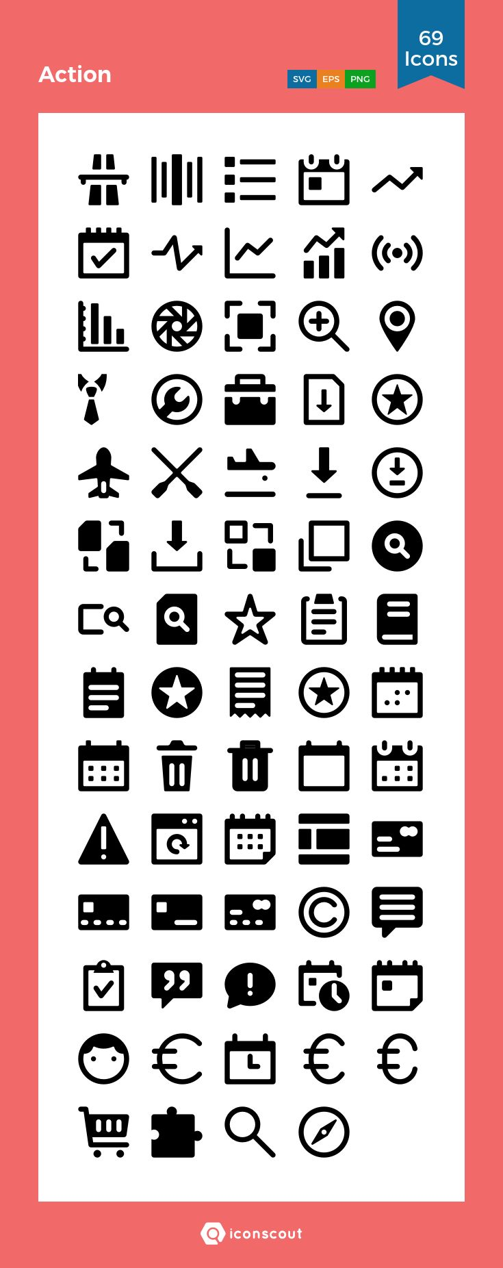 Action  Icon Pack - 69 Solid Icons