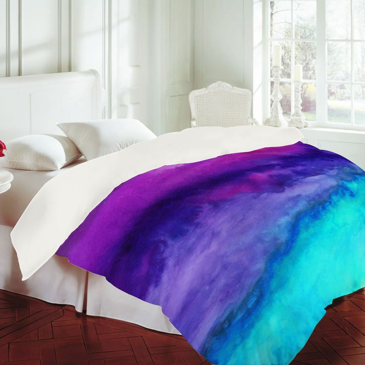 Jacqueline Maldonado The Sound Duvet Cover from an abstract watercolor painting in vibrant tones of turquoise, aqua, purple and magenta
