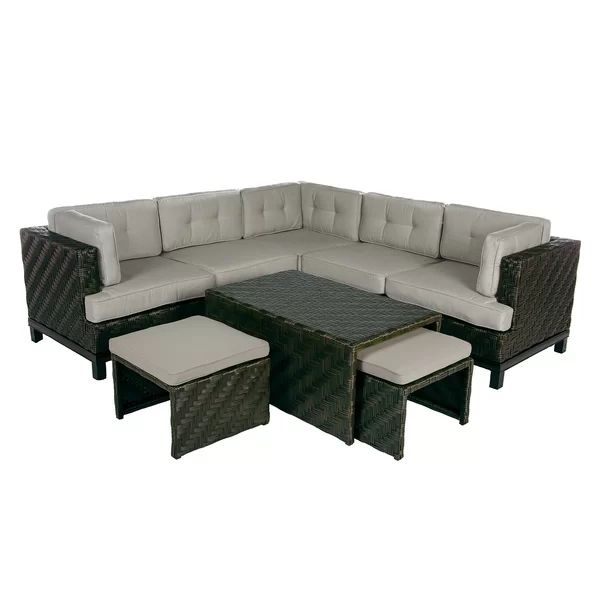 Best Yara 8 Piece Rattan Sunbrella Sectional Seating Group With 400 x 300