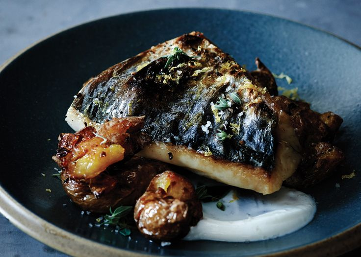 Mackerel with Crushed Potatoes and Oregano - Bon Appétit (try also with Black brass, branzino, snapper, or trout fillets