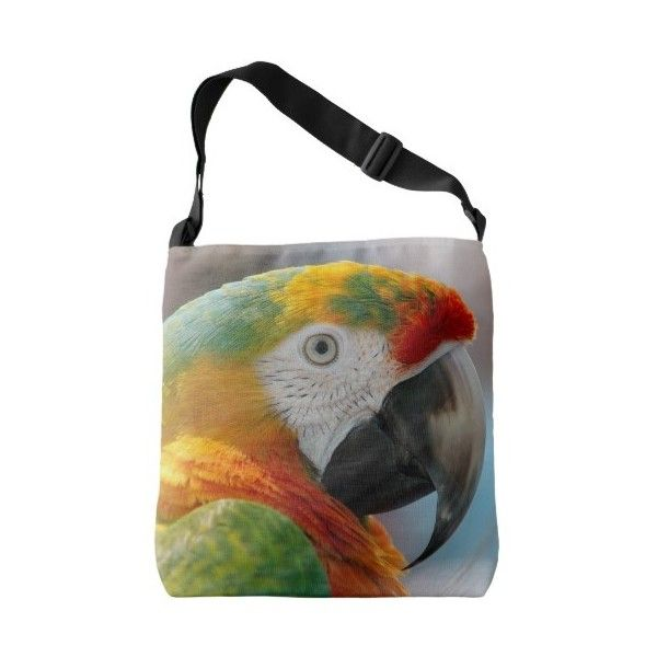 Tropical Macaw Parrot Crossbody Bag ($44) ❤ liked on Polyvore featuring bags, handbags, crossbody purses, multicolor handbags, colorful handbags, multi colored purses and cross body tote bag