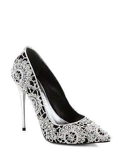 pinterest.com/fra411 #shoes #heels #Alexander McQueen Crystal & Crochet Suede Pumps