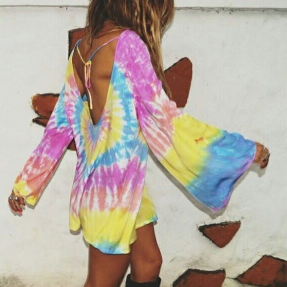 Ray and boa tie dye tunic Bell sleep tie dye tunic with low cut back! Psychedelic awesome piece by the lovely girls at rat and boa! Rat and Boa Dresses