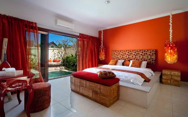 Bright red bedroom | Villa Sun, Seminyak, Bali