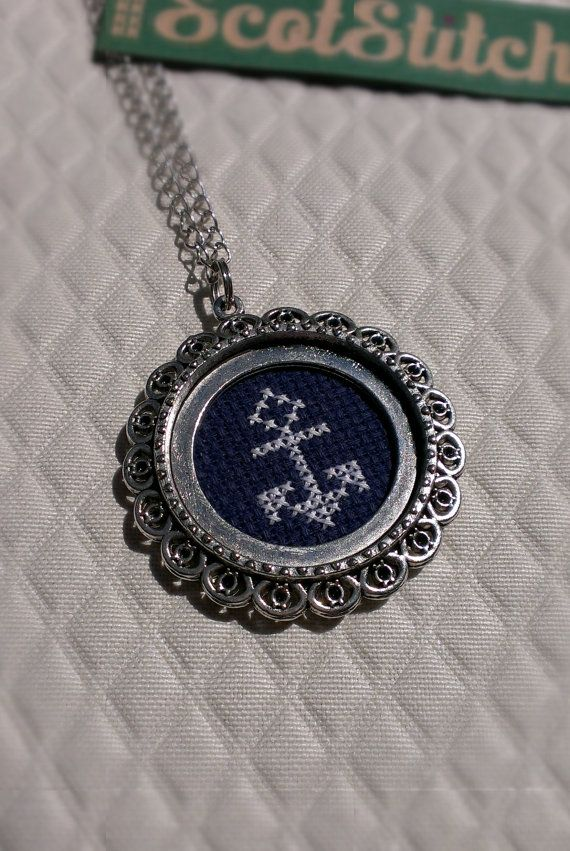 White Anchor Cross Stitch Necklace on Etsy, $25.00