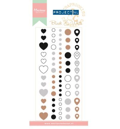 Marianne Design Project NL Enamel Adhesive stickers - Black & Wh