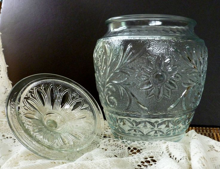 Depression Glass Jar By Anchor Hocking Sandwich Glass Cookie Jar With Ball Lid by Vintage42Day on Etsy