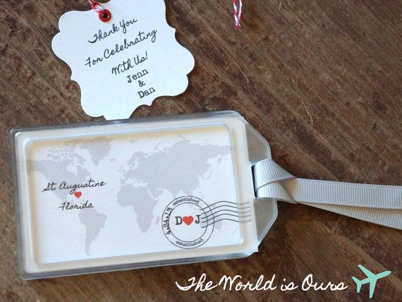 Wedding Favors The World Is Ours Luggage Tag By Lovetravelsfavors 4 75 Travel Theme