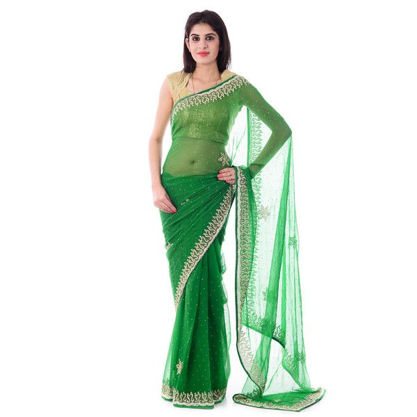Green Chiffion Cut-Dana, Moti and Stone Work Saree With Blouse Piece