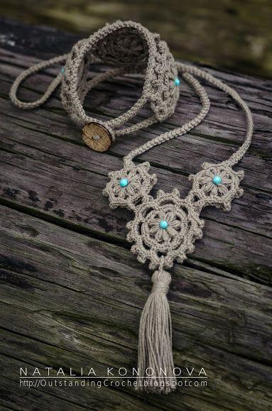 Collar y pulsera.#Crochet Boho Bracelet & Necklace.