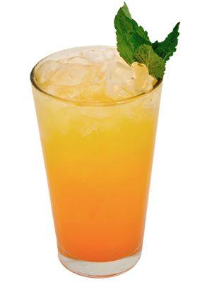 Peach Crush ~ Peach Vodka, triple sec, splash of OJ, splash of soda water, garnish with mint leaves.