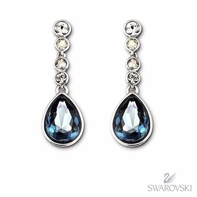 Something blue idea - Swarovski Meringue earrings with shimmering deep blue tones from the stunning Montana crystal complimented beautifually by a magnificent gradation of crystal colours set in pave - available #fromthomas in store or online www.thomasjewellers.com.au #thomasjewellers #ilovethomas