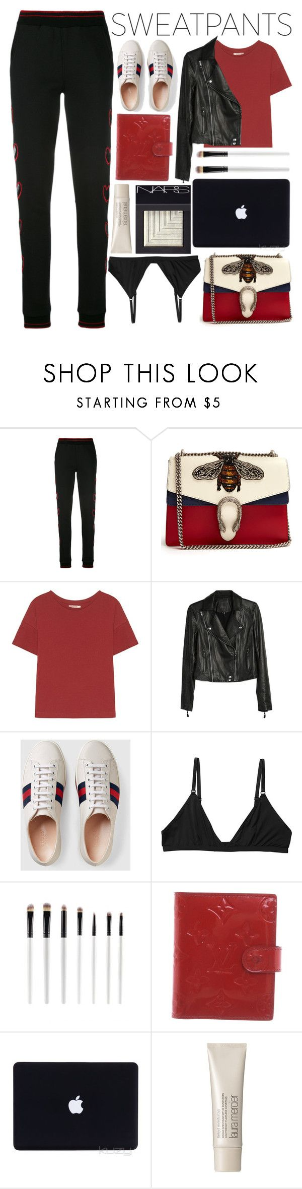 """Sweatpants / 221"" by dddawn ❤ liked on Polyvore featuring Philipp Plein, Gucci, Paige Denim, Monki, Louis Vuitton, Laura Mercier and NARS Cosmetics"
