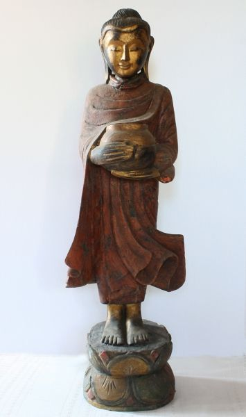 Antique Burmese Wood Carving of Lord Buddha from www.sabaidesignsgallery.com