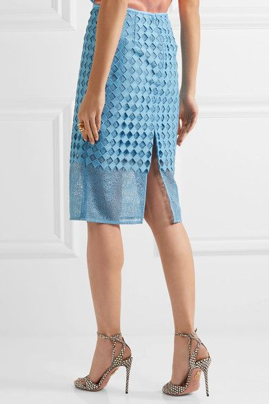 Diane von Furstenberg - Lace Pencil Skirt - Blue - US12