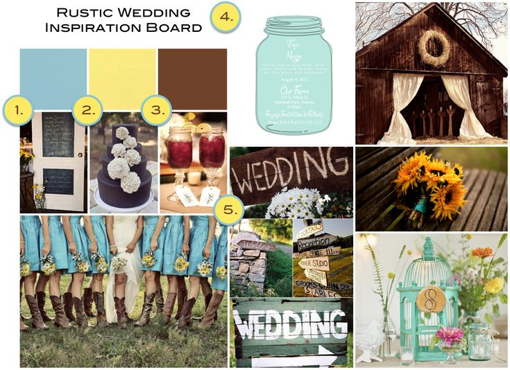 pretty right on track...colors: yellow, grey, brown, n turquoise/blue. sunflowers. blue mason jars. brown boots. wood signs. :)