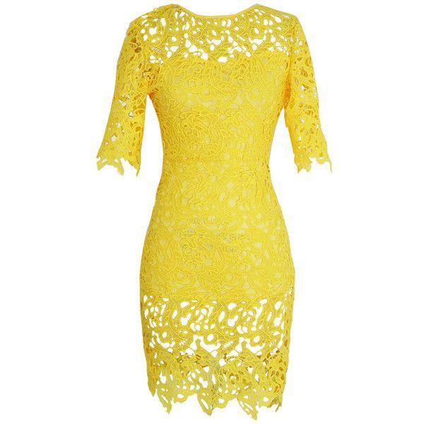 Yellow bodycon dress size 8