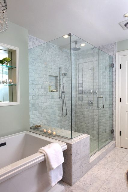 glass shower with tub, but it needs a giant skylight