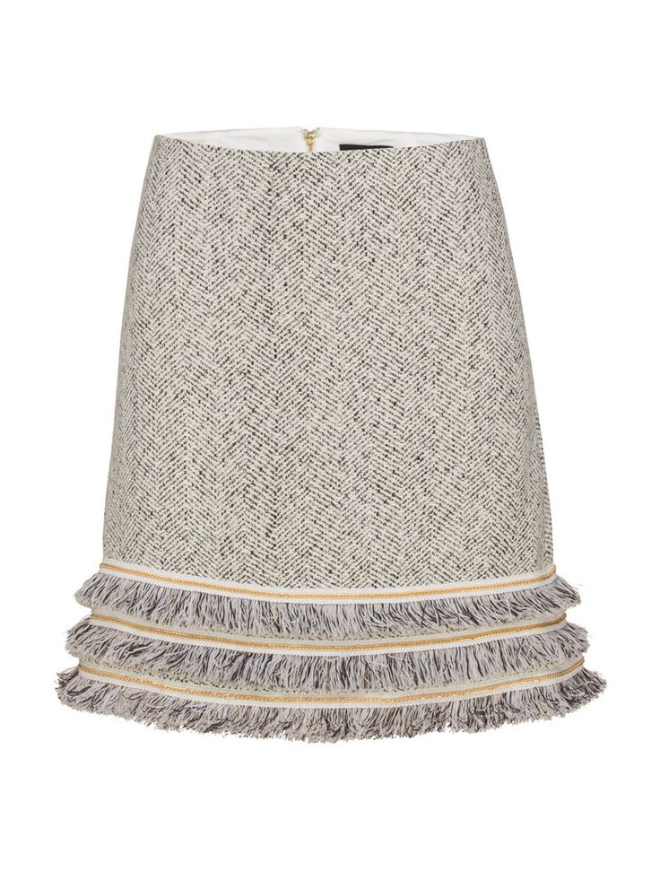 The Reach Me skirt features textured detailing with exposed zips, grosgrain chain trim, fringe trim and white lace trims. The feminine wardrobe stand-out can be worn with a simple v-neck tee for a casual look or pair with a silk cami & jacket for a corporate feel.   Features:  Made from textured suiting wool